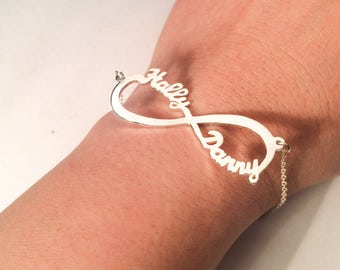 Infinity Symbol Name Bracelet - Name Bracelet - Perfect Gifts - Infinity Name Bracelet- Personalized Gifts - Gold/ Rose Gold