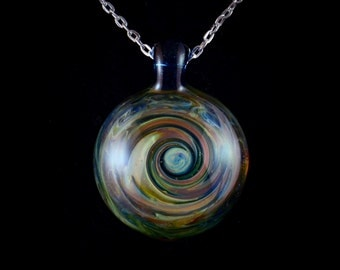 Abstract Swirl Hand Blown SolidGlass Pendant Necklace in Chroma Black Hole