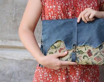 Veda Clutch | Leather Clutch | Extra Large Clutch | Tapestry Clutch | Oversize Clutch | Bohemian Clutch | Large Clutch | Modern Boho Clutch