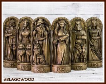 Scandinavian gods, 6 pieces, Odin, Frigg, Thor, Loki, Freya, Tyr, scandinavian phanteon, gods, norse god, asatru, viking, altar