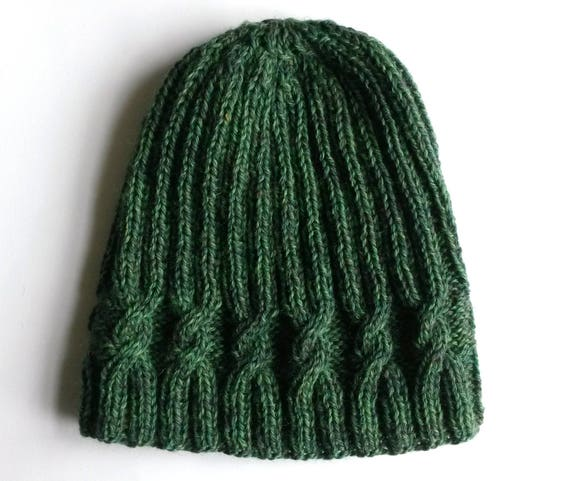 Green wool beanie: handknit hat in original design, knit in pure wool. Made in Ireland. Aran cable hat. Unisex style. Classic beanie hat.