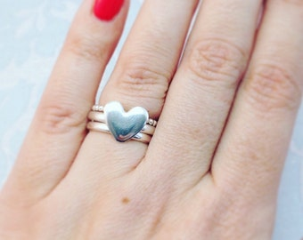 Stacking Rings, Heart Stacking Rings,  Ring Set, Heart Ring,  Heart Stacking Rings, Stack of Rings, Heart Ring Set,