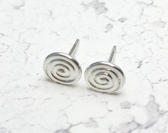 Spiral Earrings, Simple Silver Studs, Plain Studs, Sterling Silver Studs, Minimal Earrings, Small Silver Stud Earrings, Daytime Earrings