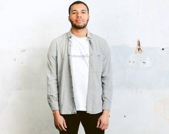 Vintage Minimalist Shirt . Short Sleeve Grey Summer Shirt Mens Flannel Top 90s Oxford Shirt Casual Cotton Shirt . size Medium