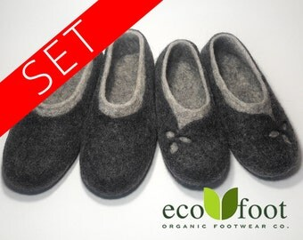 Wool Slippers SET 1+1 Womens and Mens Wool felt slippers Warm home wool shoes Organic slippers is not painted wool Soles non-slip