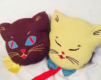 Vintage Cat Head Pillows, Handmade Embroidered 1950's