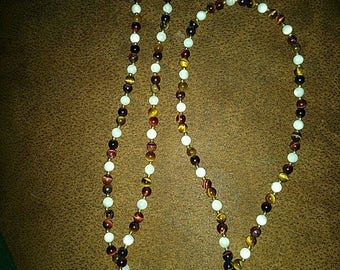 Vintage Necklace with Tiger Eye and Mother of Pearl type Beads