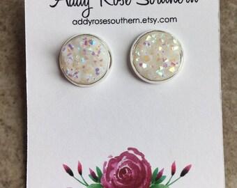 12mm white druzy earrings, druzy studs, druzy earrings, silver druzy, bridesmaid gifts, white druzy earrings, bridesmaid druzy earrings