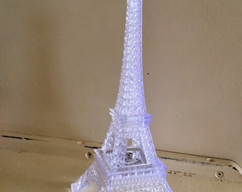 1 Eiffel Tower Plastic Clear Light Up LED Wedding Night Light Cake Topper Centerpiece
