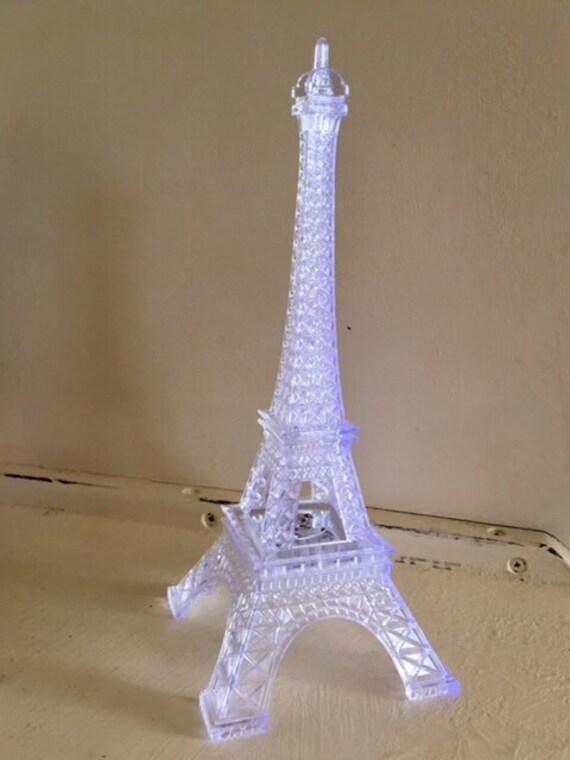1 Eiffel Tower Plastic Clear Light Up LED Wedding Night Light