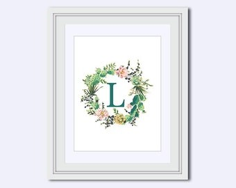Monogram L - cactus printable - Monogram printable - cactus art - Wedding printable - Monogram posters - Instant download - Digital download