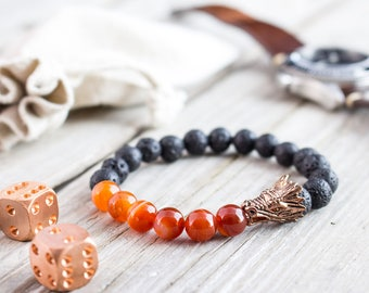 8mm - Black lava stone and orange agate beaded rose gold dragon head stretchy bracelet, made to order yoga bracelet, lava bracelet