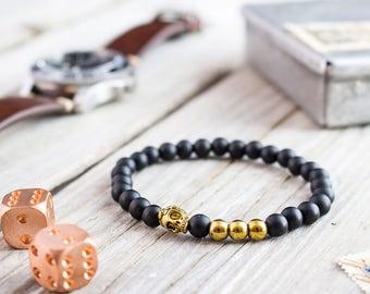 6mm - Matte black onyx beaded stretchy bracelet with gold skull, custom made yoga bracelet, mens bracelet, womens bracelet