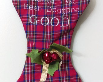 Vintage Plaid Dog Christmas Stocking