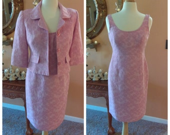 Vintage Pretty Pink Dress with Jacket by Positive Attitude Size 6 vintage 2 Pieces Business Attire Mother of the Bride