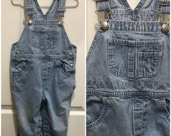 Unisex Toddler Gap Overall Washed Denim Overall Classic Baby Gap Size 2XL Chubby Toddler