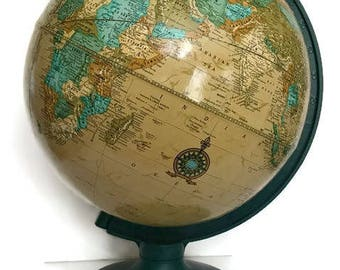 Crams Imperial Globe World  Global Decor Vintage Geography Large Globe Rotating Globe Office Decor Study Decor