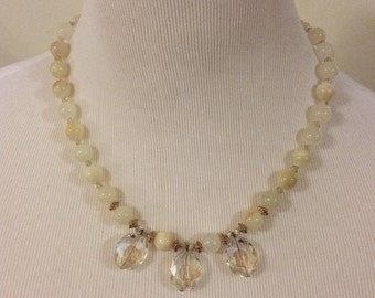 Serenity New Jade & Clear Glass Necklace