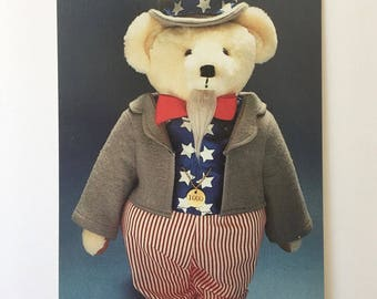 Adorable Photograph Postcard of the Uncle Sam Teddy Bear by Carrousel Collection