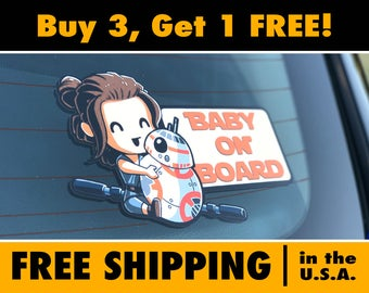 Star Wars Baby On Board, Baby Rey & BB-8 Bumper Sticker