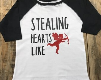 Valentines Stealing Hearts Like Cupid Baseball Style Toddler Shirt