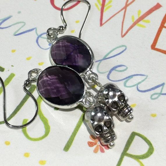 Crystal Dangle Earrings, Skull Earrings,  Purple Crystal Drop Earrings, Amethyst Earrings, Silver Skull jewelry, Crystal Earrings
