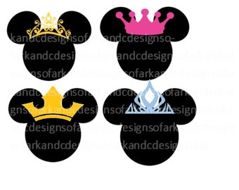 Four Mickey Mouse Ear Heads with Four differen crowns, SVG, PNG, JPG