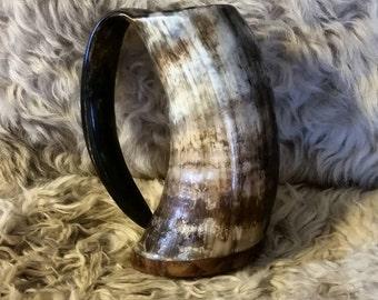 Viking Drinking Horn Mug, Tankard, Large 16oz, Wood base