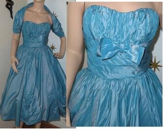 Vintage 1950s teal sharkskin bubble sweetheart cupcake dress XS 220