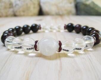 Wine Garnet Bracelet Clear Quartz Crystal Bracelet Moonstone Bracelet Gemstone Bracelet Energy Bracelet Healing Bracelet Spiritual Bracelet