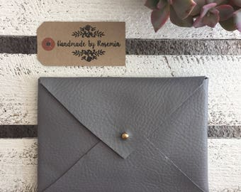 Small Grey Faux Leather Envelope Bag