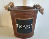 Bathroom Waste Baskets. Rustic. Rope Handles. Rustic Metal Bucket. Farmhouse Bathroom Waste Basket. Farmhouse Metal Bucket. Jute Rope Handle