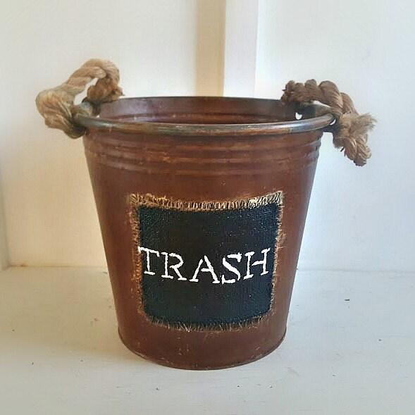 Bathroom Waste Baskets Rustic Rope Handles Rustic Metal