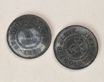 Two German occupation 5 Centimes coins, Belgium, 1916