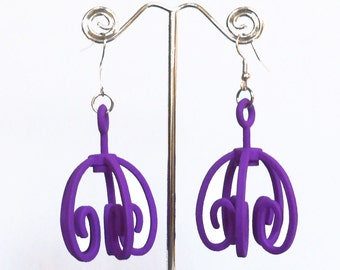 Larger Filigree -- Purple  3D Printed Earrings  (they spin!)