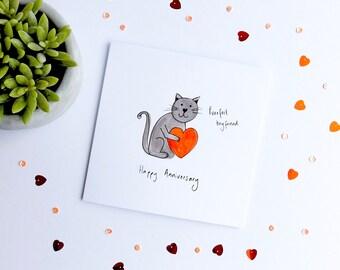 Purrfect HUSBAND / BOYFRIEND cat card. Funny cat anniversary card. Cat anniversary card. Funny anniversary card. Anniversary cat card.