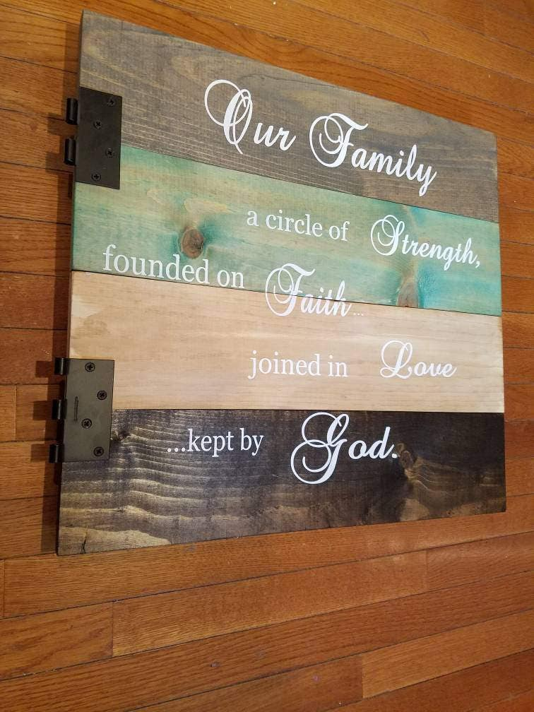 Rustic Farmhouse Decor Wood Sign Dining Room Wall Art Religious Family