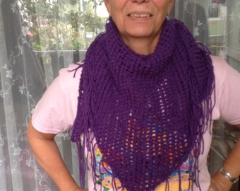 triangle lace scarf, triangle lace shawl, cowl, purple, hand knitted