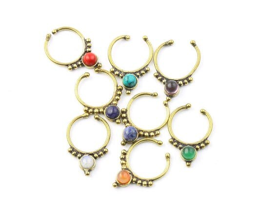 Faux Septum Ring, Fake Septum Ring, Faux Nose Ring, Gemstone Septum, Body Jewelry, Tribal Septum Ring, Indian Nose Ring, Stone Septum, Boho