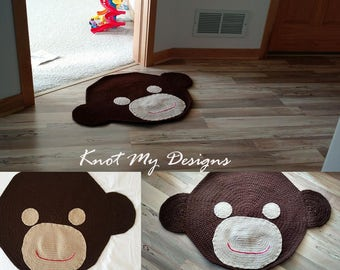 Crochet Curious Monkey Rug for Kid's Room with Non-Slippery base - Knot My Designs
