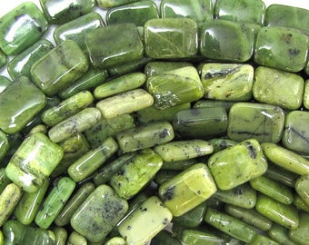 "14mm Canada jade rectangle beads 15.5"" strand 32274"