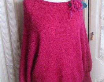 Mohair Sweater – Raspberry with Roses