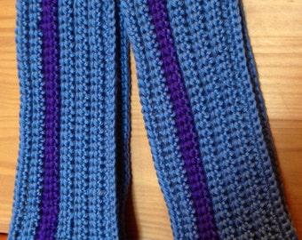Crochet Scarf, Blue with Purple Stripe