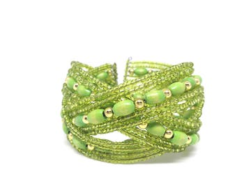 Gorgeous Estate Green Beaded Gold Tone Cuff Bracelet