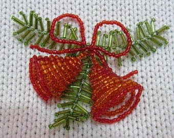 glass bead bell jingle bells beaded Christmas tree decorations beaded bead toys bells beaded with leaves orange bells beaded Christmas gift