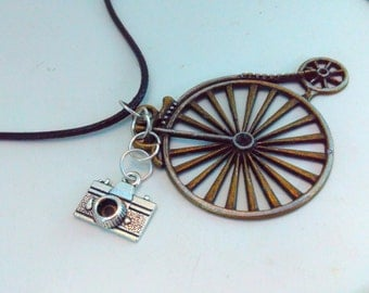 Penny farthing, necklace, penny farthing pendant, steampunk, Steampunk necklace, handmade steampunk, bikes, photography, camera, bicycle, #8