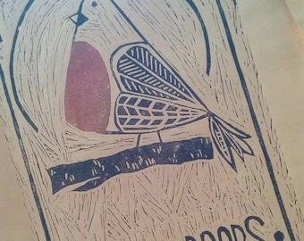 Linoprint - Robin Redboobs