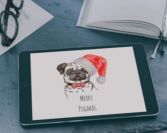 Merry Pugmas ,  Christmas iPad Air / Air2 / Mini desktop wallpaper