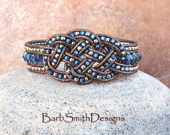 """Celtic Beaded Leather Bracelet-Blue Crystal Silver-Celtic Leather Knot-Wide Wrap Cuff-Size 6 3/4""""-Custom Sizes, Sassy Lassie in Sapphire"""