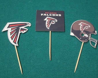 Cupcake toppers, party supplies, Atlanta Falcons, NFL, football, sports theme